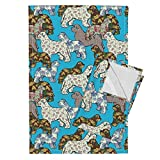 Roostery Animal Tea Towels Newfy Whimsy Teal Fabric by Dogdaze Set of 2 Linen Cotton Tea Towels