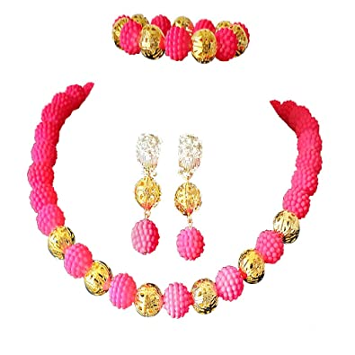 6f6375eea4 New style multicolor Imitation Pearl Womens Beaded Necklace Jewelry  Nigerian Wedding Jewelry Set Bridal Jewelry African beads Jewelry Set (Pink):  ...