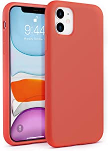 BEBEN Liquid Silicone Case Compatible with iPhone 11 Case, Gel Rubber Full Body Protection Shockproof Cover Case Drop Protection Case for Apple iPhone 11 6.1 inch (Nectarine)