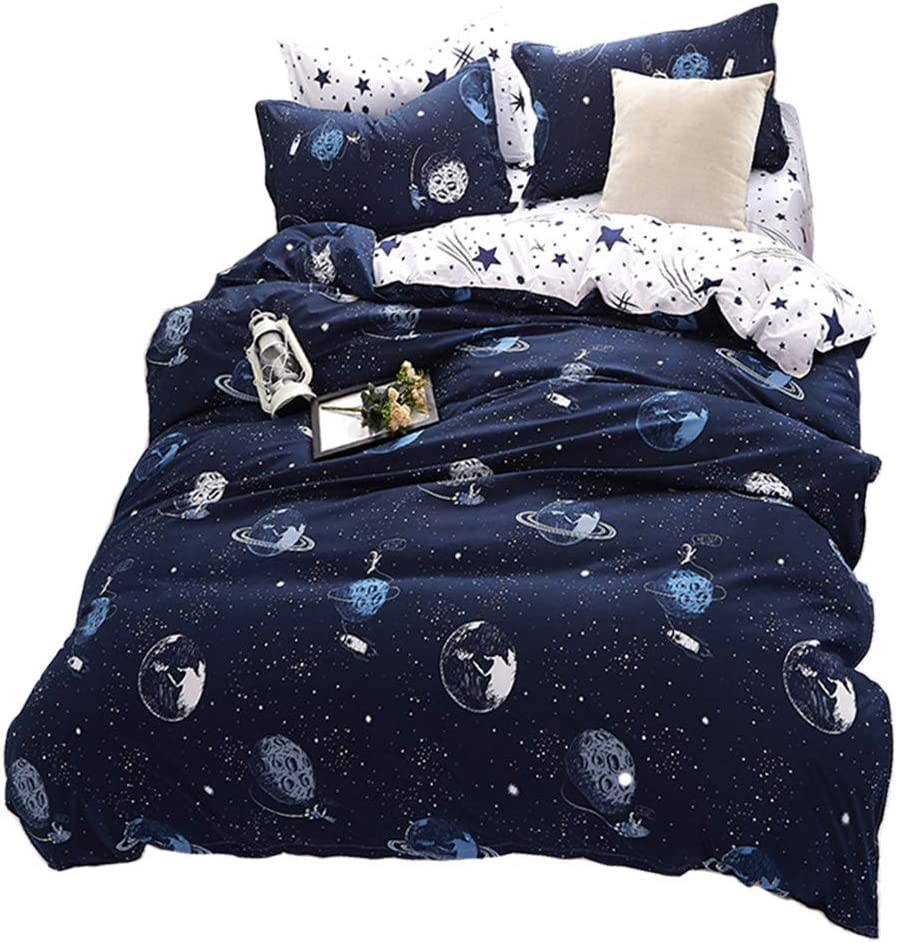 STFLY Kids Space Bedding Solar System Bedding for Boys Girls Soft Microfiber 3Pcs Duvet Twin Bed Sheets Sets Star Galaxy Satellites Bedding Set (Space Satellites, Twin)