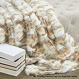 Sumptuous Luxury Faux Fur Throw Blanket - Designer Quality - Fur Accents - Made in America (58''x80'', Platinum Tibetan Fox)