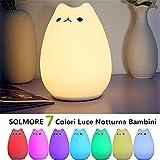 Luce Notturna LED, SOLMORE Lampada per i Bambini Comodino Luce 7 Colori e Silicone Gatto Luce Decorazioni Luce Notturne per Camerette,Letto Bambini(Tramite cavo USB)