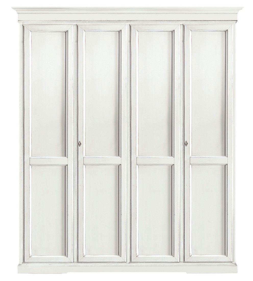 CLASSICO armadio Shabby Chic bianco 3 ante battenti guardaroba ...