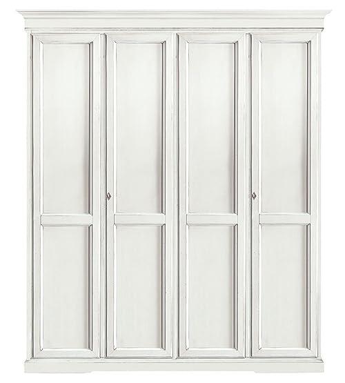 CLASSICO armadio Shabby Chic bianco 4 ante battenti guardaroba ...