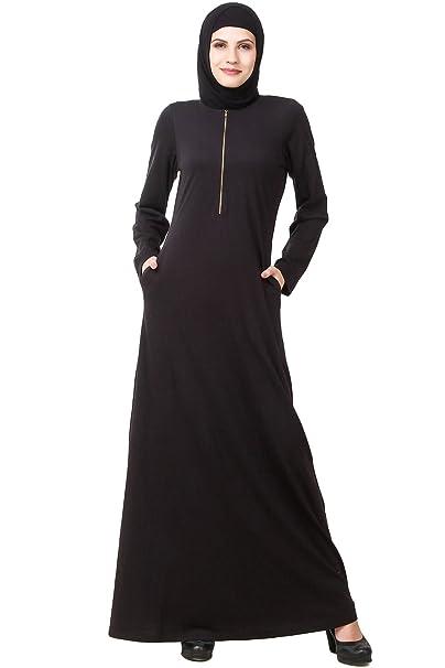MyBatua negro musulmán Abaya formal y ropa informal Burqa Maxi Jilbab vestido AY-591 (