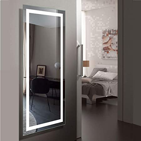 DECORAPORT Large 70 x32 LED Full Length Backlit Mirror- Oversized Rectangle Dressing Illuminated Mirror with Infrared Sensor, Wall-Mounted Full Size Wall Frameless Mirror with LED Lights 010-AG
