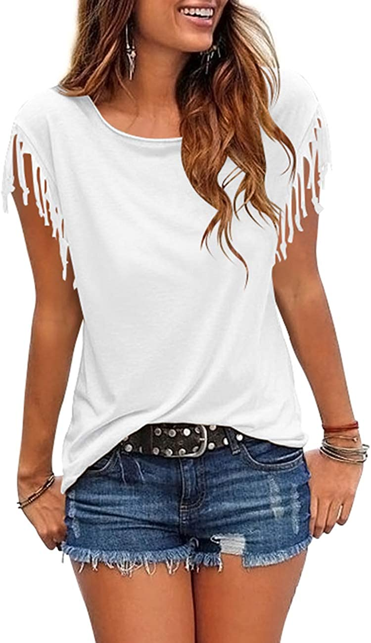 Cosonsen Womens Tassel Short Sleeve Round Neck T-Shirt Top Casual Summer Tee