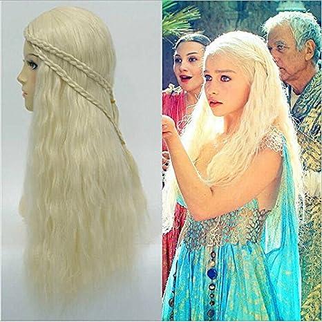thematys Khaleesi Daenerys Targaryen Peluca Wig - Disfraz de Game of Thrones Carnaval y Cosplay - Mujeres: Amazon.es: Productos para mascotas