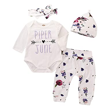 83378a74c Amazon.com  4Pcs Infant Girl Outfits Piper June Bodysuit Tops Floral ...