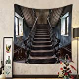 Gzhihine Custom tapestry Scary Decor Tapestry Horror Movie Classic Deserted Abandoned Home with Old Vintage Stairs Artwork for Bedroom Living Room Dorm 60WX40L Multicolor