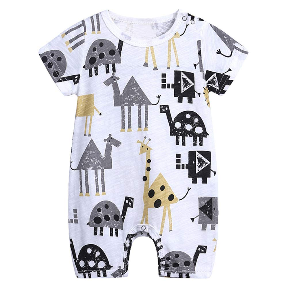 LittleSpring Baby Boys Summer Cute Pattern Printing One-Piece Romper 1-2T