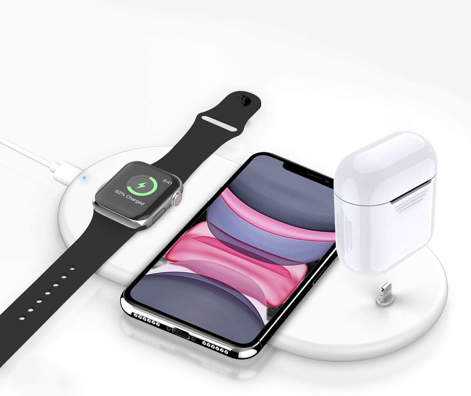 Kekodeepfun Wireless Charger, 3 in 1 Wireless Charging Stand Pad for Apple Watch iPhone Airpods, Wireless Charging Station for iPhone 11/Pro/X/XR/Xs/8 Plus Apple Watch Charger 5 4 3 2 1 Airpods12 Pro