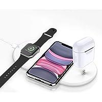 Cargador inalámbrico Rápido, Estación de Carga Rápida Qi Inalámbrica 3 en 1 Soportes de Carga de para iPhone 11/11 Pro…