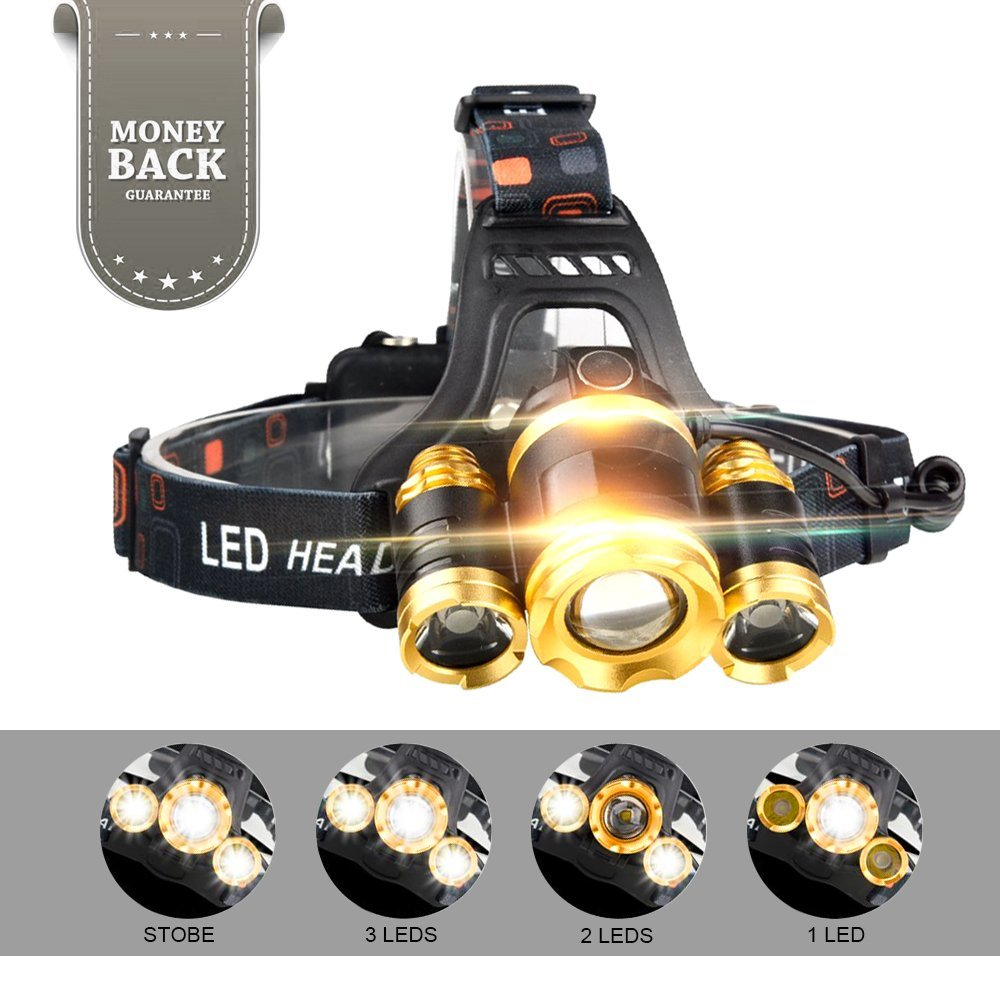 Adjustable Headlamp,LED Headlamp Flashlight,Brightest Headlamp with USB Cable,4 Modes,5000 Lumens 3 Cree Led,2 Powerful 18650 2400mA Batteries,Waterproof Zoomable HeadLights for Running,hiking,camping