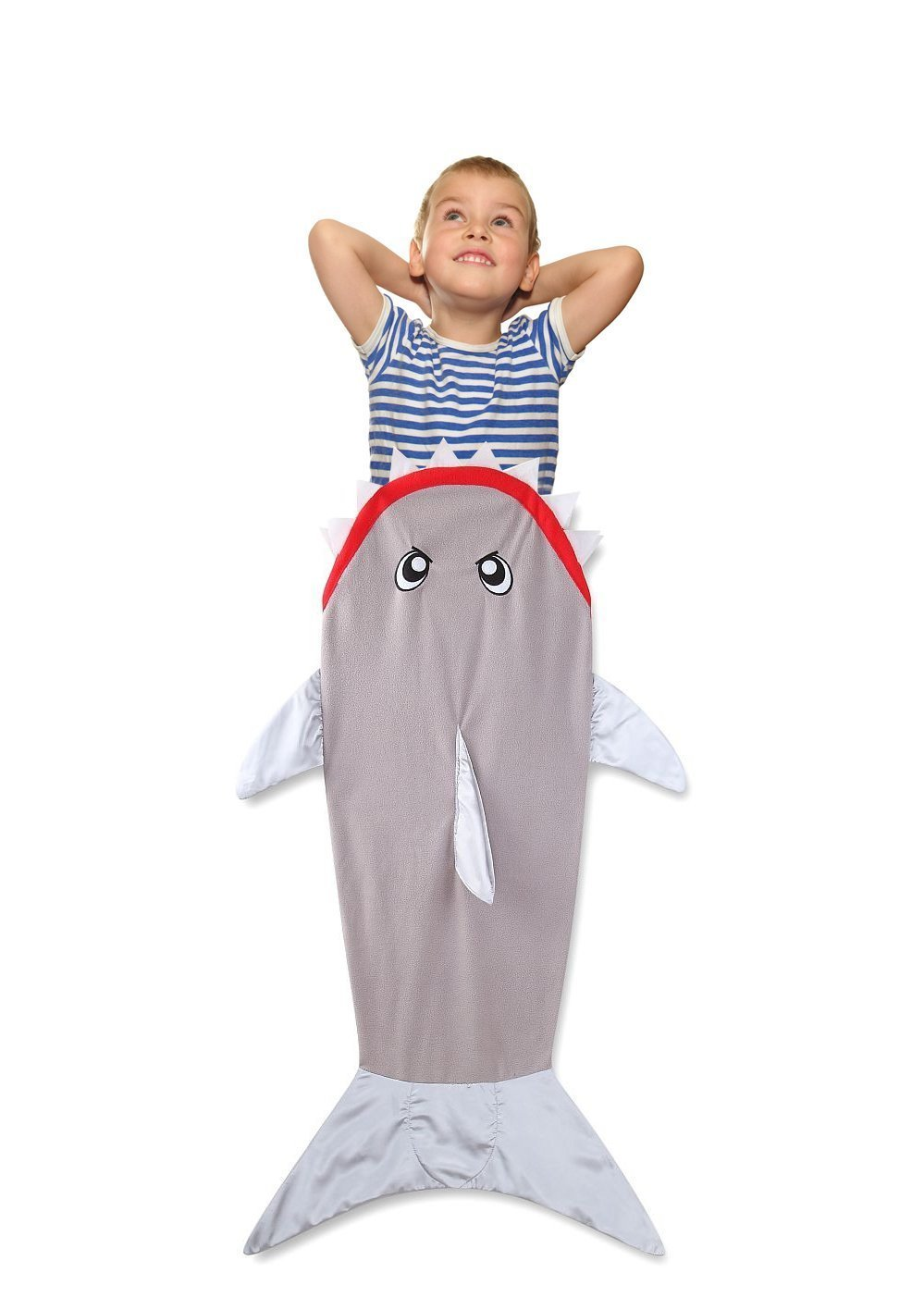 Shark Tail Blanket For Kids Toddler 3 to 12 Years Old Premium Quality Swaddle Cozy Very Soft Comfortable Minky Warm Sleeping Sack Cute And Fun Design - Great Christmas and Birthday Gift - Fleece Grey