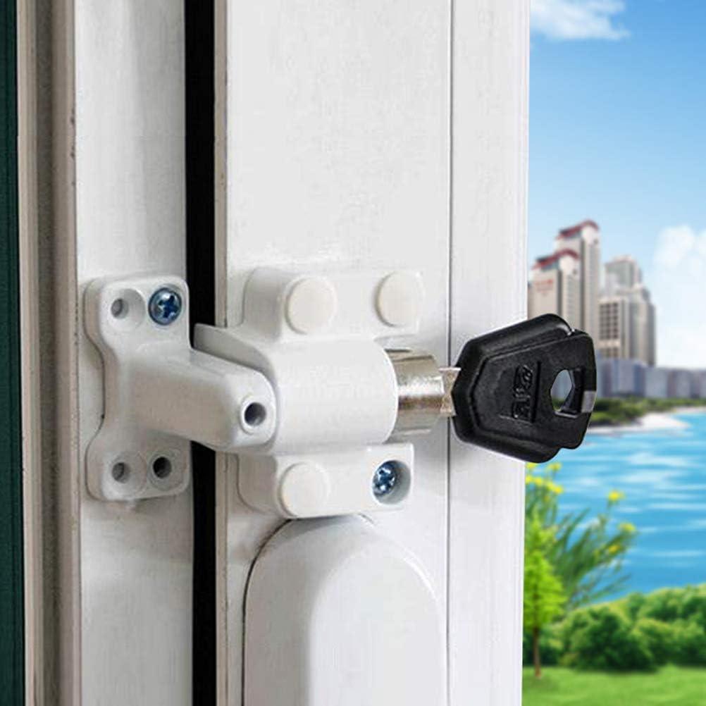 BESTOMZ Cerradura con Llave Deslizante para Ventana Puerta de Aluminio Acero Inoxible para Protección de Seguridad Antirrobo (Blanco): Amazon.es: Hogar