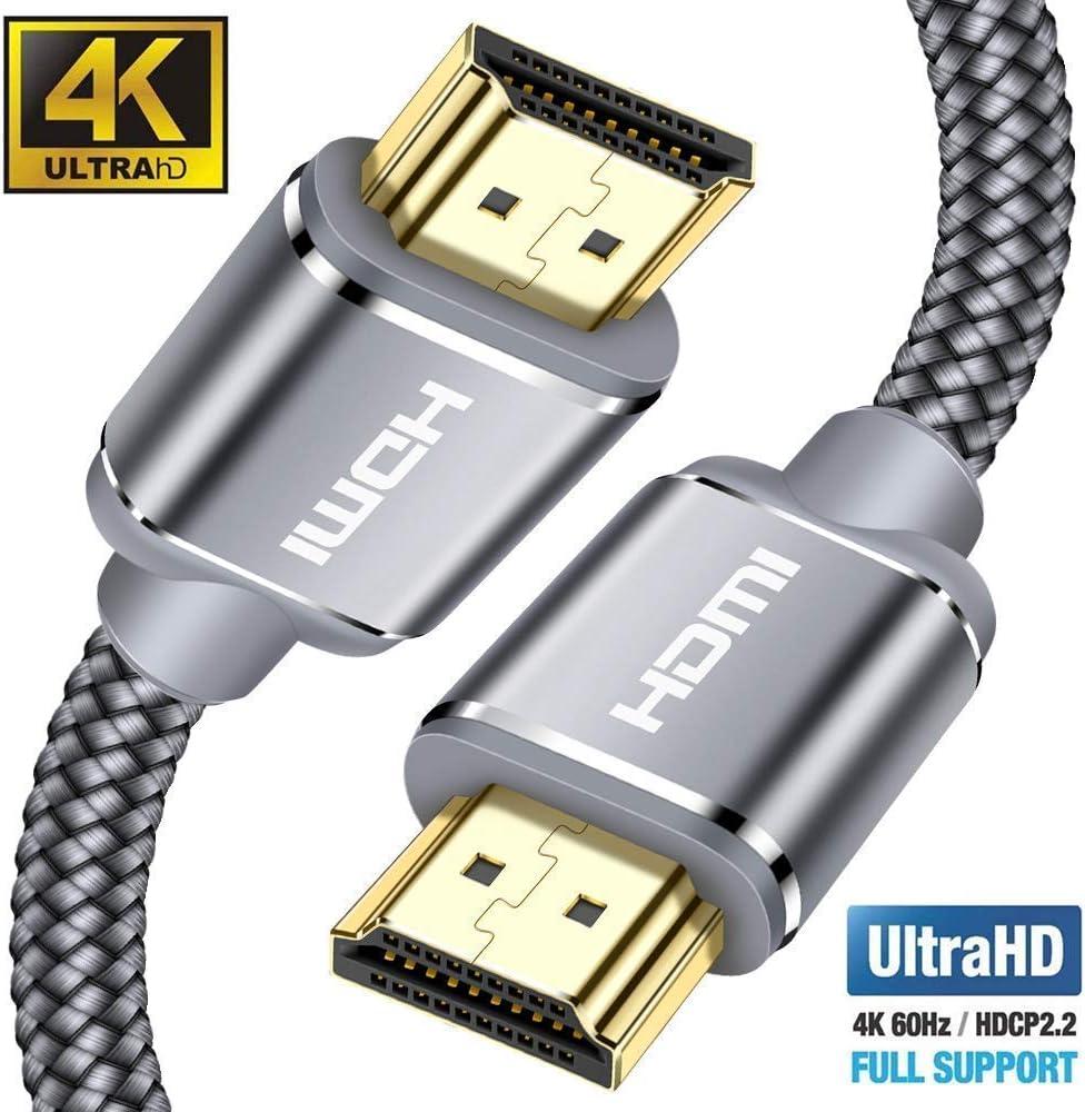 Cable HDMI 4K 3metros-Snowkids Cable HDMI 2.0 Ultra Alta Velocidad 18Gbps Cable Trenzado de Nylon 4K a 60Hz Compatible con Fire TV, 3D,función Ethernet, Video 4K UHD 2160p, HD 1080p-Xbox 360 PS4-Gris