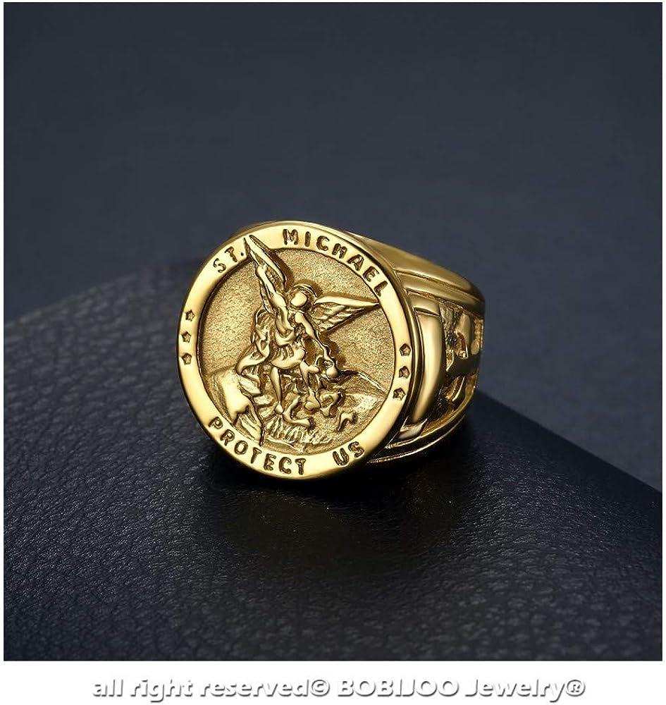 Chevali/ère Bague Homme Archange Saint Michel Protection Acier Dor/é Or Plaqu/é BOBIJOO JEWELRY