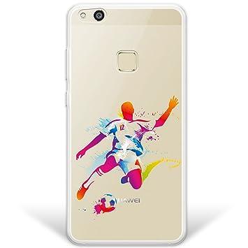 WoowCase Funda Huawei P10 Lite, [Hybrid ] Jugador de Fútbol con Balón Deporte 2 Case Carcasa [ Huawei P10 Lite ] Rígida Fabricada en Policarbonato y ...