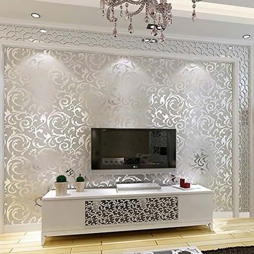 Elaco Home Sticker, 10M Luxury Silver 3D Victorian Damask Embossed Wallpaper Rolls Home Art Decor