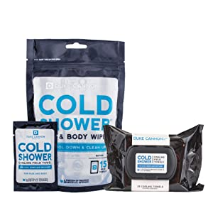 Duke Cannon Cold Shower Cooling Field Towels Face + Body Wipes Combo: Hard-Top 25ct + Pouch 15ct Individually Wrapped