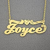 Gold Name Necklace Solid 14k Personalized Nameplate with Diamond Cut Heart