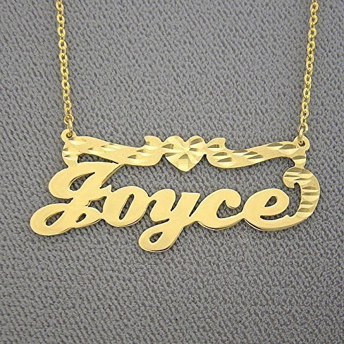 Gold Name Necklace Solid 14k Personalized Nameplate with Diamond Cut Heart by Soul Jewelry Inc