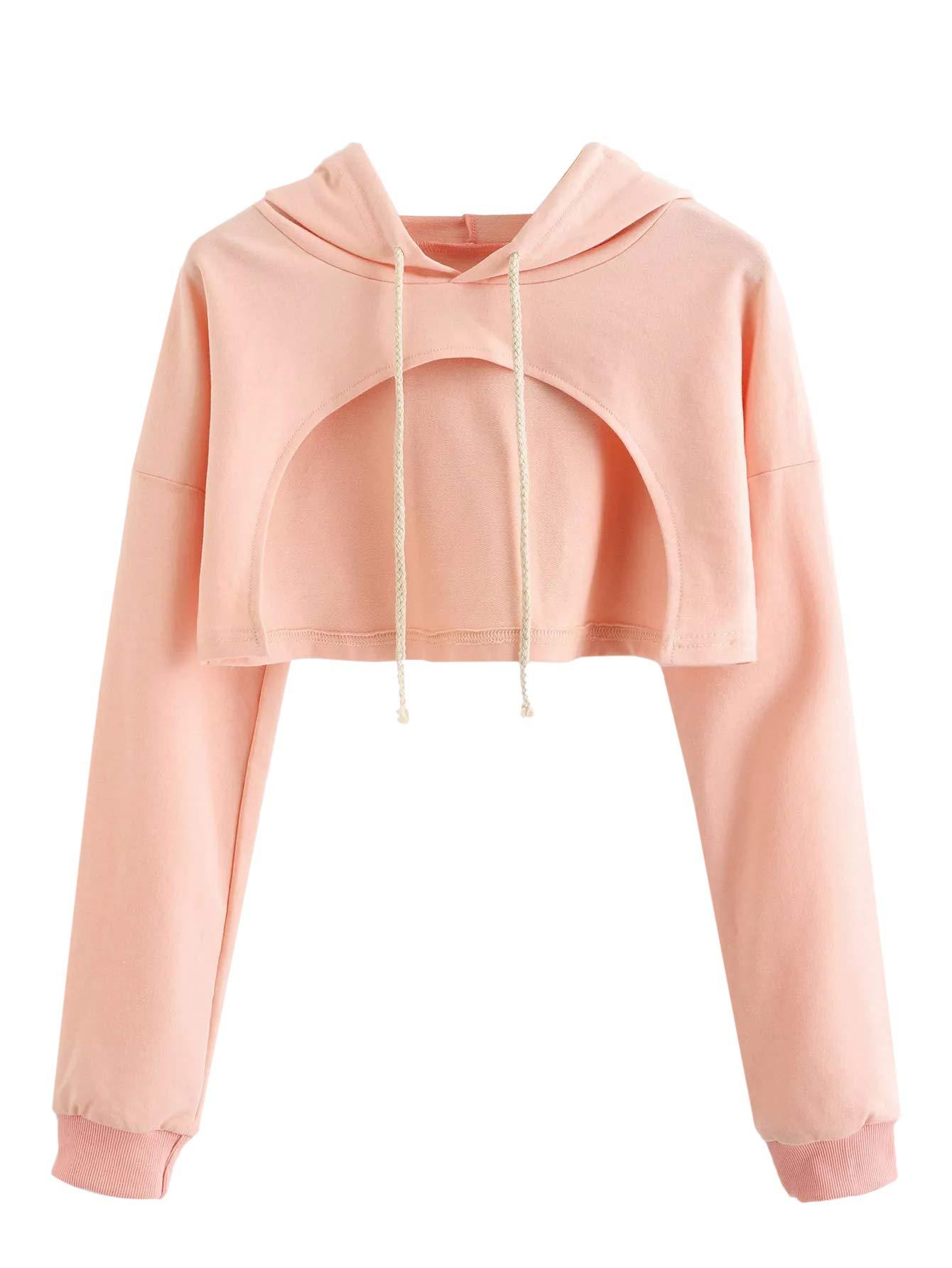 SweatyRocks Women's Solid Black Long Sleeve Pullover Crop Top Hoodie Pink #1 S