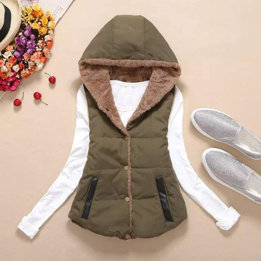 DEATU Women Casual Hooded Button Vest Outwear Sale Lady Warm Thick Coat Cotton Blend Padded Slim Jacket