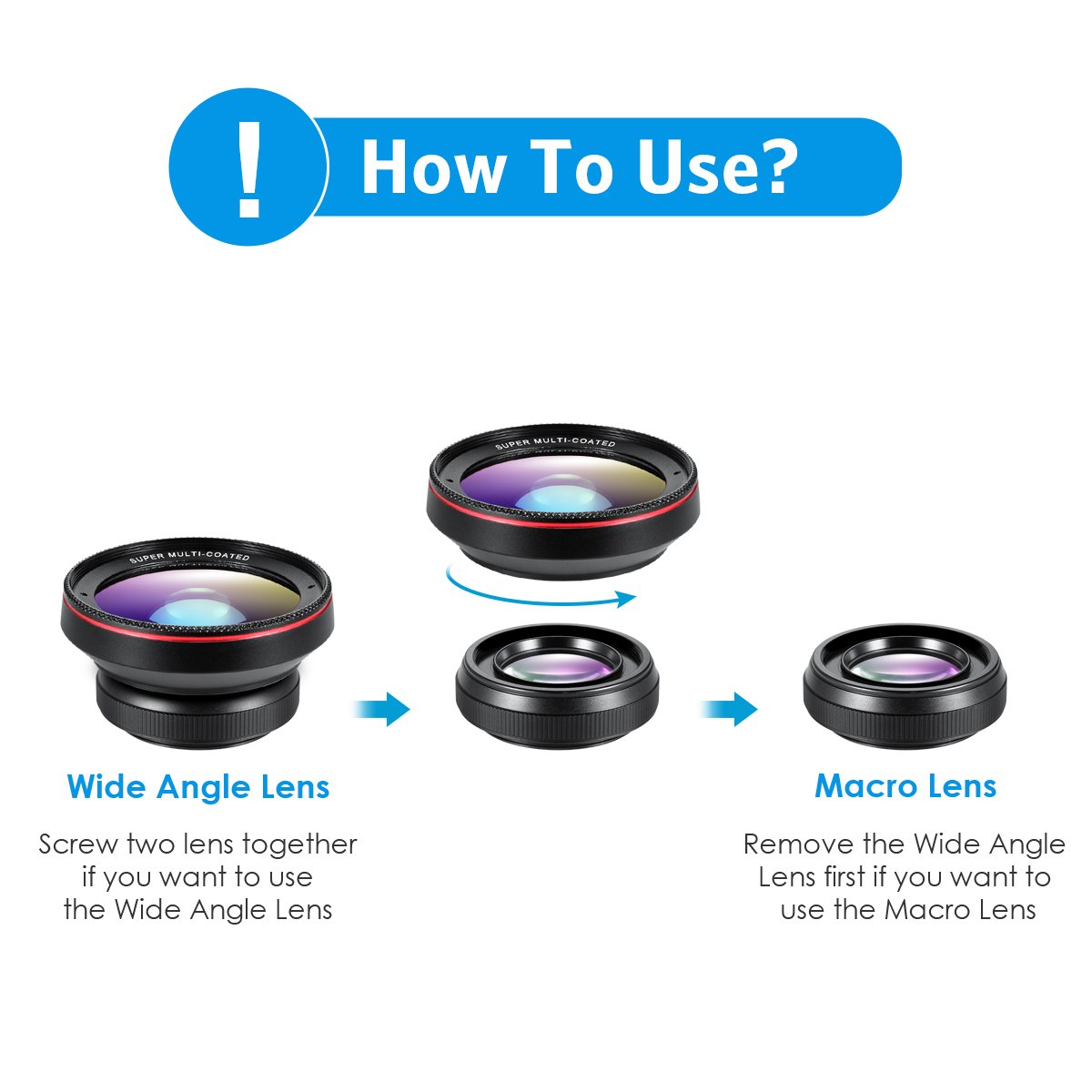 Phone Camera Lens, 0 6X Super Wide Angle Lens, 15X Macro Lens for iPhone  Lens Kit, 2 in 1 Clip-On Cell Phone Camera Lens for iPhone 8, X, 7, 7 Plus,