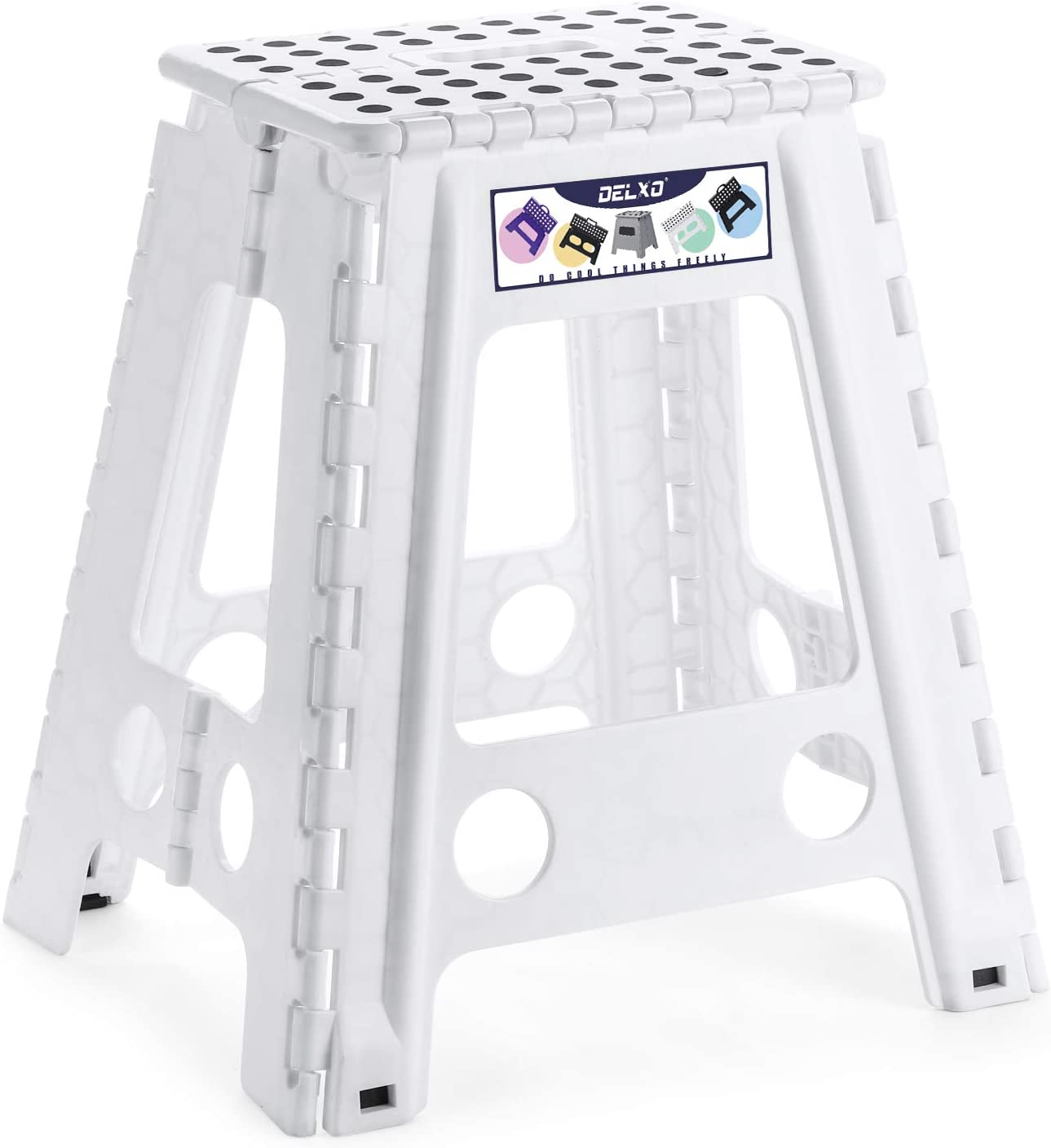 """Delxo 18"""" Folding Step Stool in White,1 Pack Premium Heavy Duty Foldable Stool for Adults,Portable Collapsible Plastic Step Stool,Non Slip Folding Stools for Kitchen Bathroom Bedroom"""