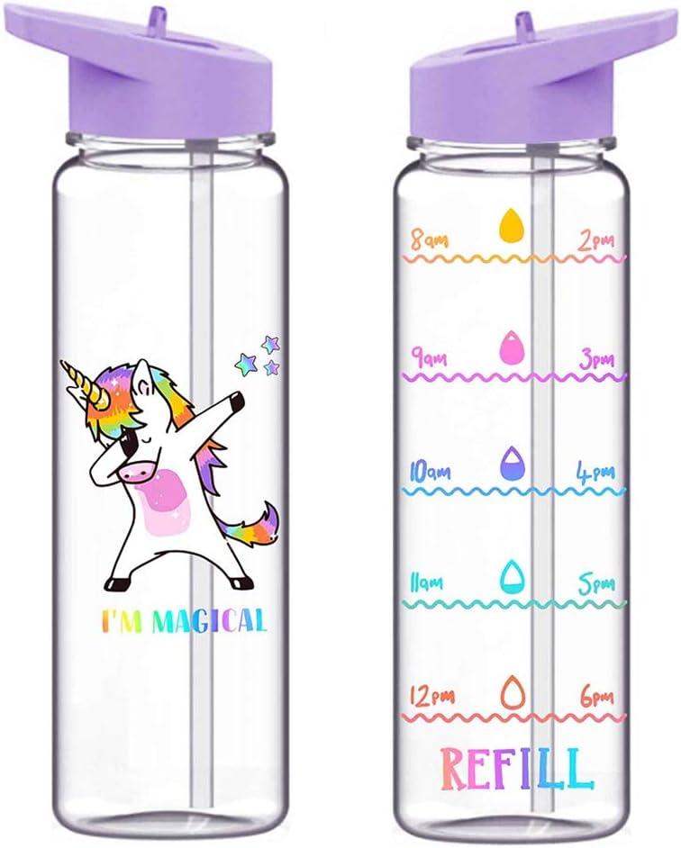 Miuse – Botella de paja para estudiantes con gran capacidad y antigoteo, sin BPA, portátil, de plástico, para viajes al aire libre, senderismo, camping, color violeta claro, 720 ml (unicornio)