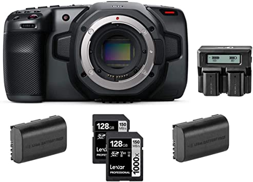 Amazon Com Blackmagic Design Pocket Cinema Camera 6k Bundle With Lexar Professional 128gb 1000x Uhsii U3 Sdxc Memory Card 2 Pack 2 Pack Spare Battery Dual Charger Electronics