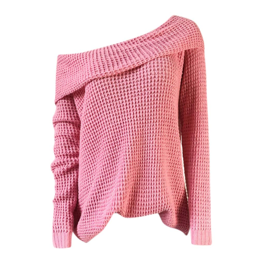Ultramall Womens Long Sleeve Off Shoulder Sweater Pure Color Down Shirts Sexy Tops Blouse(Pink,M) by Ultramall (Image #5)