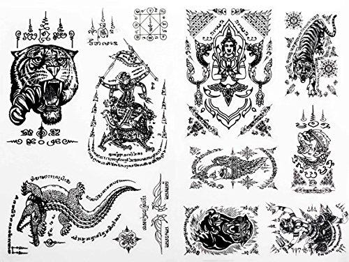 2-black-thai-tradition-ancient-temporary-sticker-body-tattoos-tiger-face-hanuman-crocodile-angel-set