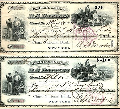 1892 PAIR of 2 RARE and SUPERB 1892 GIRARD (ERIE) PA BANK DRAFTS w FINE OBSOLETE CURRENCY VIGNETTES and NOTEWORTHY AUTOGRPAH! CV $100 Payable at Chase Bank! XF-AU or better ()