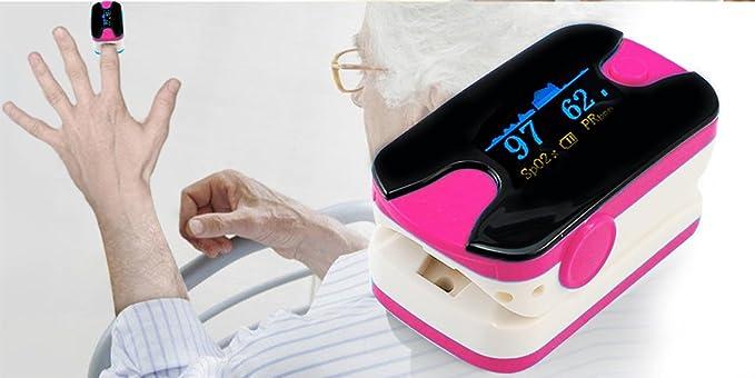 Dedo Pulso Oxímetro sangre la saturación de oxígeno monitor con color OLED, sonido alarma, sonido de pulso, vinmax oxímetro de dedo SPO2 Monitor Puls (Rose ...