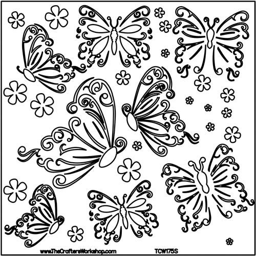 Templates 12 x 12-inch The Crafters Workshop Butterflies Template TCW175