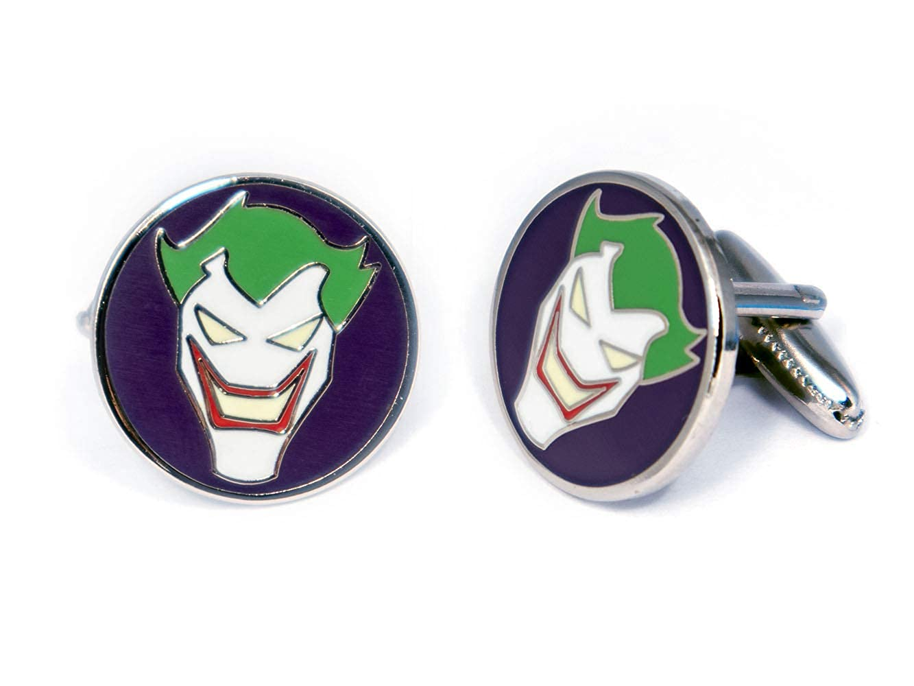 SharedImagination Joker Minimalist Cufflinks Harley Quinn Cuff Links Link Wedding Party Gift DC Comics Batman vs Superman Tie Tack Jewelry Justice League Tie Clip Avengers Groomsmen Gifts Justice League Cufflinks