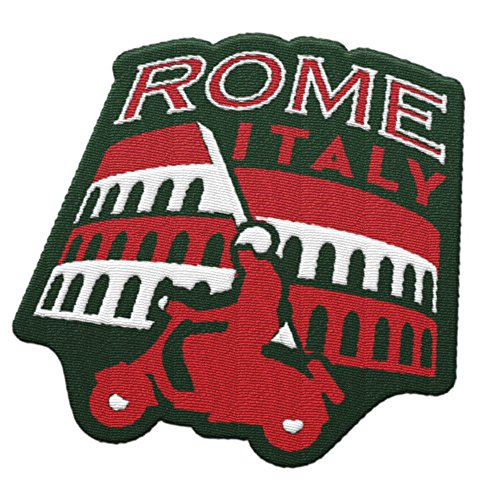 Vagabond Heart Rome Italy Travel Patch featuring the Roman Colosseum and Vespa / Great souvenir for backpacks and luggage / Backpacking and travelling badge.
