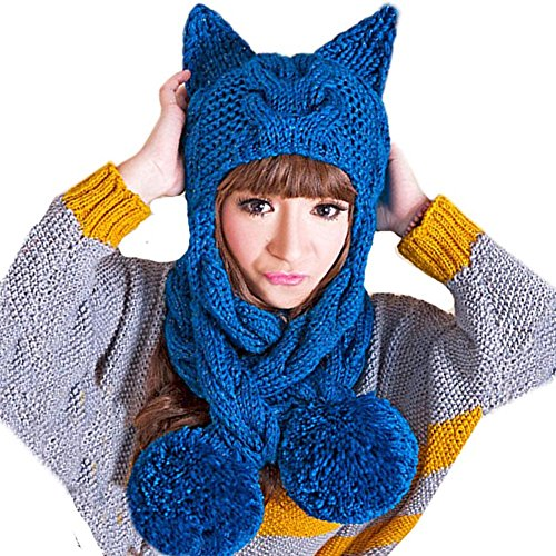 (BIBITIME Handmade Knitted Hat Scarf Combo Women Sharp Cat Ear Crochet Beanie Cap)