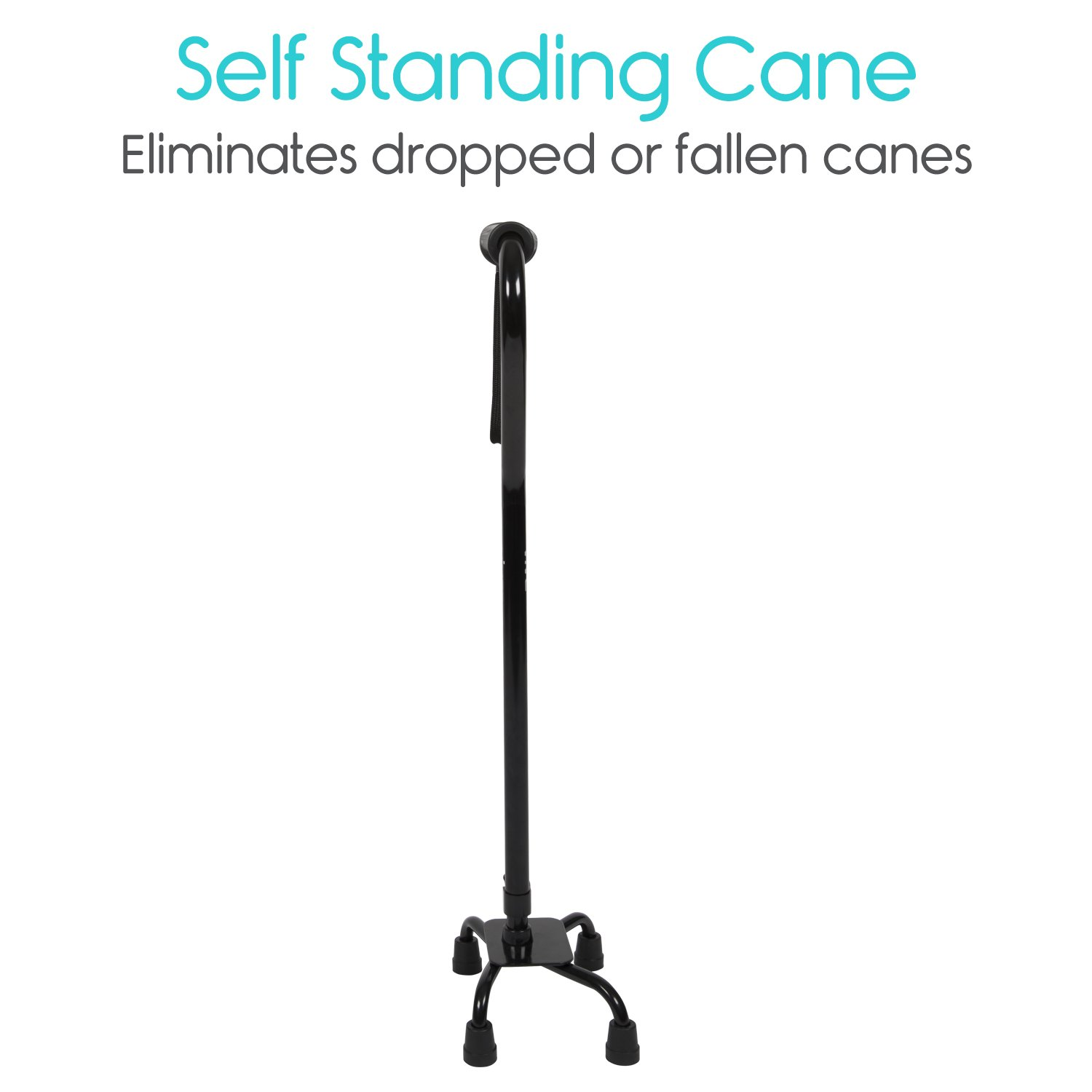 Adjustable Quad Cane by Vive - Lightweight Walking Stick for Men and Women - Walking Staff Can Be Used By Right- or Left-Handed Individuals - Fashionable and Sturdy (Black) by VIVE (Image #3)
