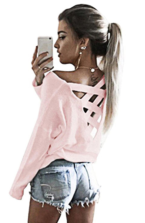 Yingkis Women Cut Out Loose Pullover Criss Cross Backless Sweater Shirt Top, XXL