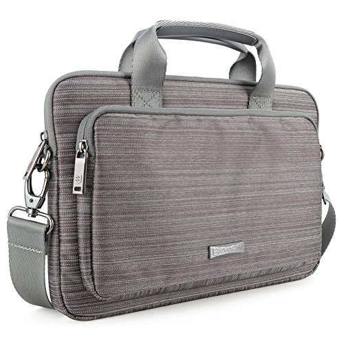 Lightweight Notebook Case - Laptop Bag Evecase 17.3 Inch Classic Padded Briefcase Messenger Case with Shoulder Strap and Handle for Laptop Notebook Chromebook Ultrabook - Gray