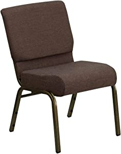 Flash Furniture HERCULES Series 21''W Stacking Church Chair in Brown Fabric - Gold Vein Frame