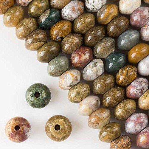 Ocean Jasper Beads Strand (Cherry Blossom Beads Large Hole 2.5mm Drilled Ocean Jasper Beads 8x12mm Smooth Rondelle - 8 Inch Strand)