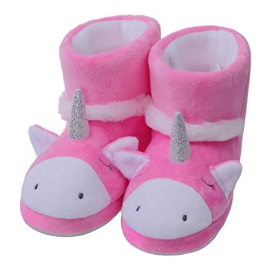 a1f757695f5 MIXIN Girls Cute Cartoon Unicorn Winter Warm Bedroom Booties Slippers Shoes  Baby Toddler Little Kids Pink