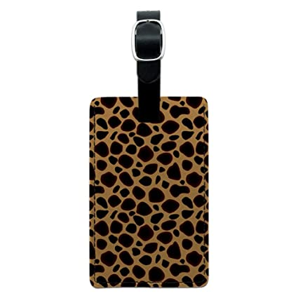 25d2b0c019e2 Graphics & More Cheetah Print Leather Luggage Id Tag Suitcase Carry-on,  Black