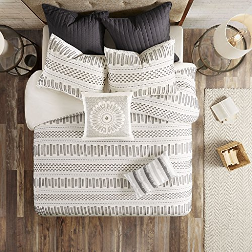 Ink+Ivy Rhea Cotton Jacquard Comforter Mini Set, Full/Queen, Ivory/Charcoal