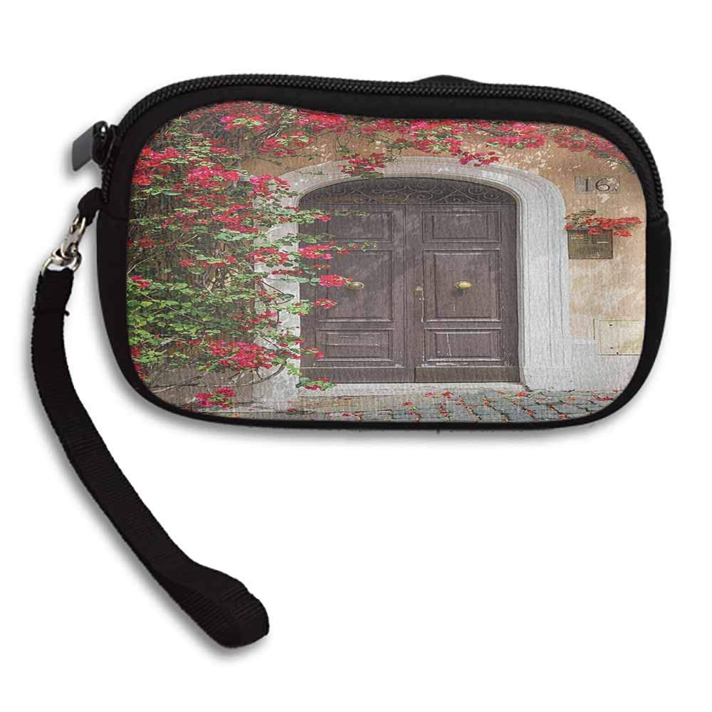 Moroccan Small Wallet Old Wooden Door Surrounded by Flowers European Medieval Entrance Italy Artful Print W 5.9x L 3.7 Womens Zip Around Purse